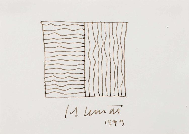 SOL LEWITT (USA/1928-2007) Lignes irrégulières horizontales et verticales, 1999