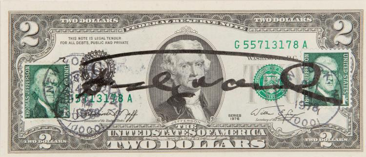 ANDY WARHOL (USA/1928-1987) Two Dollar Bill, ca. 1977