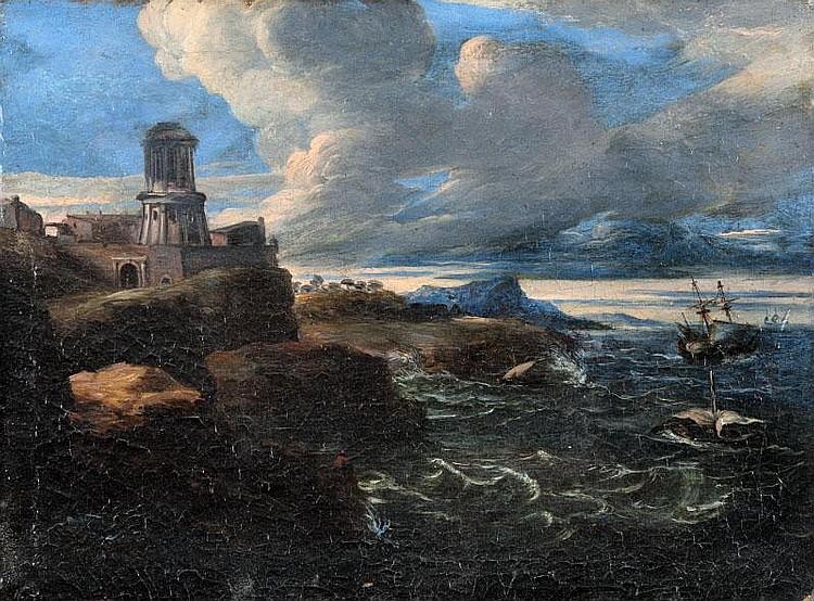 Bartolomeo TORREGIANI (1590-c.1675) attribué àMarine.Toile.28 x 37 cm.