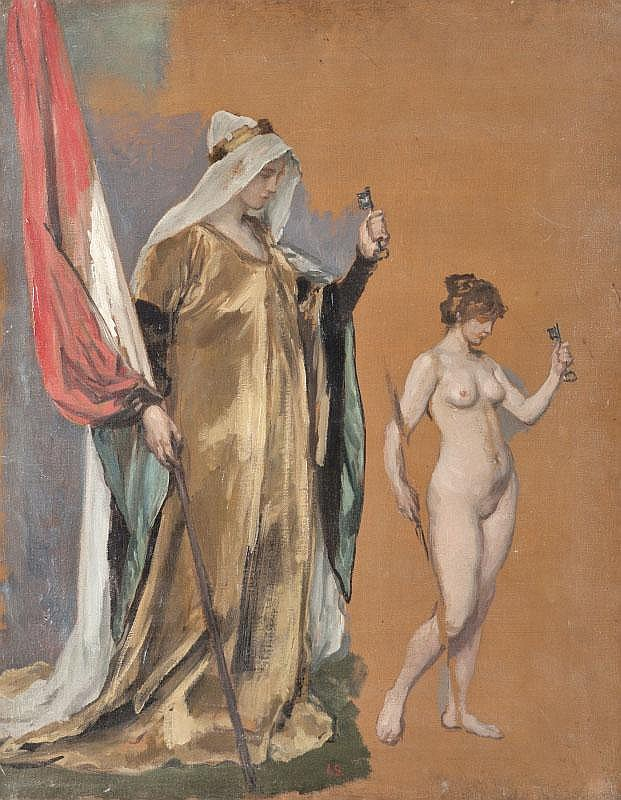 Joseph SCHEURENBERG (1846-1914)Allégorie de la France.Huile sur toile.Monogrammée en bas au milieu.90 x 71 cm.