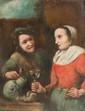 Ecole flamande du XVIIème siècle  Scènes de genre.  Trois huiles sur toile.  23,5 x 19 cm.