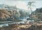 Charles Santoire de VARENNE (Paris ou Rouen 1763-1834)  Bergers près d'une rivière de montagne avec un château fort. Aquarelle et gouache. Signée en bas à droite CH Varenne. 26 x 34 cm.