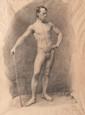 Gustave RICARD (1823-1873)  Académie d'homme.  Dessin au fusain.  Signé et daté 1840.  51 x 44 cm.