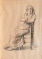 Jean François MILLET (1814-1875)  Portrait au crayon d'une paysanne.  31 x 23 cm.