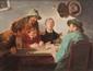 Ernst ZIMMERMANN (1852-1901)  Scène de taverne.  Huile sur toile. Signée en bas au milieu.  24 x 29 cm.