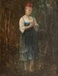 Gustave JUNDT (1830-1884)  La cueillette.  Huile sur carton. Signée en bas à gauche.  29 x 23 cm.