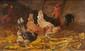 Jacques Van COPPENNOLLE (1870-1915)  Poulailler.  Huile sur panneau. Signée en bas à gauche.  22 x 16 cm.
