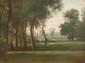 Louis-Nicolas CABAT (1812-1895)  Paysage.  Huile sur toile. Signée en bas à droite.  Peint en 1860 à Bercenay-Par-Hotte (Aube).  24,5 x 32 cm.