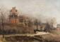 Paul VOGLER (1852-1904)  Balade dans le parc.  Huile sur toile. Signée en bas à gauche  datée 1884. 33 x 47 cm.