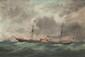 Ecole française du XIXème siècle  Portrait de bateau.  Huile sur toile.  70 x 92 cm.