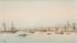 Emile HENRY (1842-1920)  Le port de Marseille, la Major.  Aquarelle. Signée en bas à gauche.  26 x 46 cm.