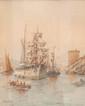 Emile HENRY (1842-1920)  L'entrée du port.  Aquarelle. Signée et datée 1907 en bas à gauche.  44 x 35 cm.