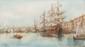 Emile HENRY (1842-1920)  Le port de Marseille.  Aquarelle. Signée en bas à gauche.  26 x 46 cm.