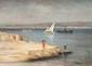 François MAURY (1861-1933)  Pêcheur et petite fille sur la digue.  Huile sur toile.  Signée en bas à droite et datée (18)86.  61 x 81 cm.