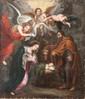 Ecole flamande du XVIIIème siècle,  d'après Pierre Paul RUBENS  La Sainte Famille.  Cuivre.  45,5 x 39,5 cm.