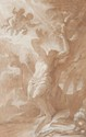 Joseph Benoit SUVEE (Bruges 1743 - Rome 1807)  Le martyr de Saint Sébastien.  Plume et encre brune, lavis brun et rehauts de blanc.  Signé et daté en bas à gauche J. B. Suvée f. 1774.  42 x 26,5 cm.