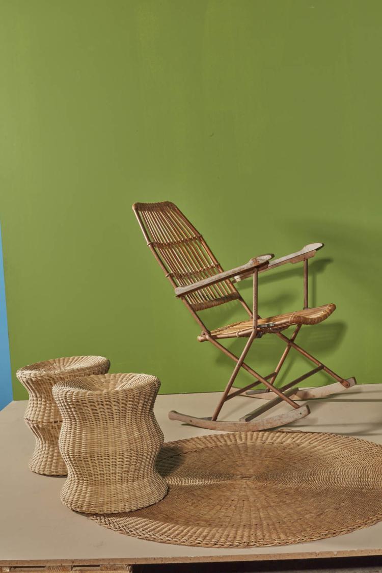 travail italien rocking chair pliable fer osier et bois. Black Bedroom Furniture Sets. Home Design Ideas