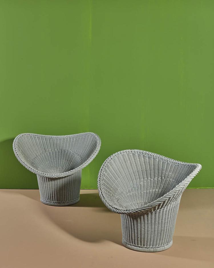 2 egon eiermann 1904 1970 korbsessel e20 deux fauteuils. Black Bedroom Furniture Sets. Home Design Ideas