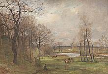 Charles BEAUVERIE (1839-1924)   Le berger et son troupeau.   Huile sur toile.   Signée en bas à gauche.   46 x 66 cm.