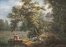 Auguste Etienne Fr. MAYER (1805-1890)   Le pique-nique près de la rivière.   Huile sur carton.   Signée et datée 187? en bas à droite.   25,5 x 35 cm.