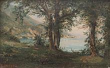 Leberecht LORTET (1826-1901)   Paysage au lac.   Huile sur toile marouflée sur carton.   Signée en bas à gauche.   13,5 x 29 cm.