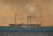 Joseph Honoré Maxime PELLEGRIN (1793-1869)   Le Lyonnais d'Arles, Vincent Fage Capitaine en second. 1847.   Aquarelle.   Signée et datée 1847 en bas à droite.   Titrée en bas.   43 x 58 cm.
