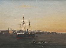 Ecole française du XIXème siècle   Bateau devant un port.   Huile sur toile.   Signée en bas à gauche.   42 x 57 cm.