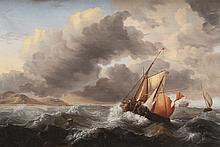 Hermanus II KOEKKOEK (1836-1909)   Voiliers en mer.   Huile sur toile.   Monogrammée en bas à droite.   65 x 98 cm.