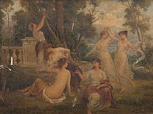François LAFON (1846-?)   Fêtes champêtres.   Paire d'huiles sur toile.   Signées.   72 x 92 cm. Accidents.