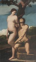 Ecole italienne du XVIIème siècle,   suiveur de Guido RENI   Adam et Eve.   Toile.   206 x 123 cm.   Sans cadre.
