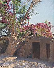 Ludwig DEUTSCH (1855-1935)   Egyptien sous un bougainvillier.   Huile sur toile.   Signée en bas à gauche.   61 x 50 cm.