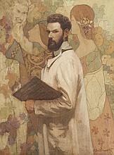 F. GUILLERMIN   Portrait du peintre Hyacinte Jay.   Huile sur toile.   Signée en bas à droite.   136 x 102 cm.