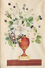 Ecole française du XIXème siècle   Nature morte au bouquet de fleurs.   Aquarelle et gouache.   40 x 29 cm.