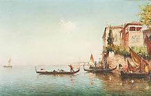 Albert Ferdinand DUPRAT (1882-1974)   Le grand canal à Venise.   Huile sur panneau parqueté.   Signée en bas à droite.   81 x 124 cm.