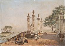 Pierre Emile GIGOUX de GRANDPRÉ (1826-?)   Paysage animé en Indochine. 1898.   Huile sur carton.   Signée et datée 1898 en bas à gauche.   38,5 x 56 cm.
