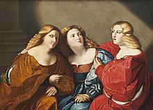 Ecole du XIXème siècle, d'après PALMA LE VIEUX   Les trois soeurs.   Toile.   89 x 123 cm.