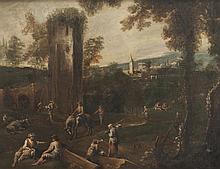 Ecole vénitienne du XVIIIème siècle   Bergers dans un paysage. Toile. 75 x 95 cm.
