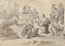 Jean-Baptiste LE PRINCE (1734-1781) dans le goût de   La halte des paysans.   Lavis d'encre.   21 x 29 cm.