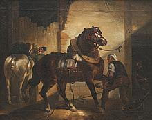 Ecole du XIXème siècle   Chevaux à l'étable.   Huile sur toile.   33 x 41 cm.