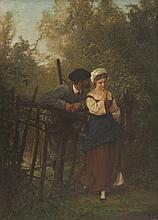 Henri Edmond RUDAUX (1870-1927)   Scène galante.   Huile sur panneau.   Signée en bas à droite.   42 x 30 cm.