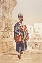 Amadeo PREZIOSI (1816-1882)   Le vendeur de babouches.   Gouache et crayon.   Signé en bas à droite.   42 x 30 cm.