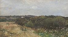 Pierre Emmanuel DAMOYE (1847-1916)   Paysage.   Huile sur toile.   Signée en bas à gauche.   33 x 55 cm.