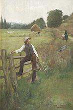Robert SAUBER (1868-1936)   Berger distrait.   Huile sur toile.   Signée en bas à droite.   35 x 53 cm.