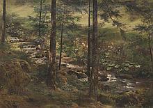 Anton Heinrich DIEFFENBACH (1831-1914)   Le ruisseau dans la clairière. 1898.   Huile sur toile.   Signée et datée 1898 en bas à gauche.   45 x 61 cm.