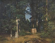 Anton Heinrich DIEFFENBACH (1831-1914)   La clairière. 1904.   Huile sur toile.   Signée et datée 1904 en bas à gauche.   54 x 71 cm.