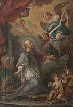 Ecole française du XIXème siècle, d'après Charles Joseph NATOIRE Saint François de Sales. Sur sa toile d'origine. 59 x 39,5 cm. Reprise de la toile (270 x 192 cm) de Natoire conservée dans la cathédrale de Nîmes (voir S. Caviglia-Brunel,