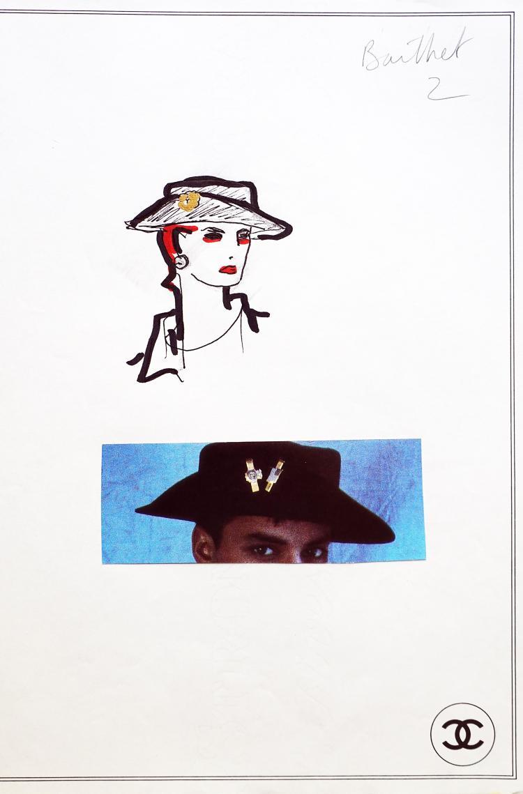 KARL LAGERFIELD POUR CHANEL  Croquis d'un chapeau noir.
