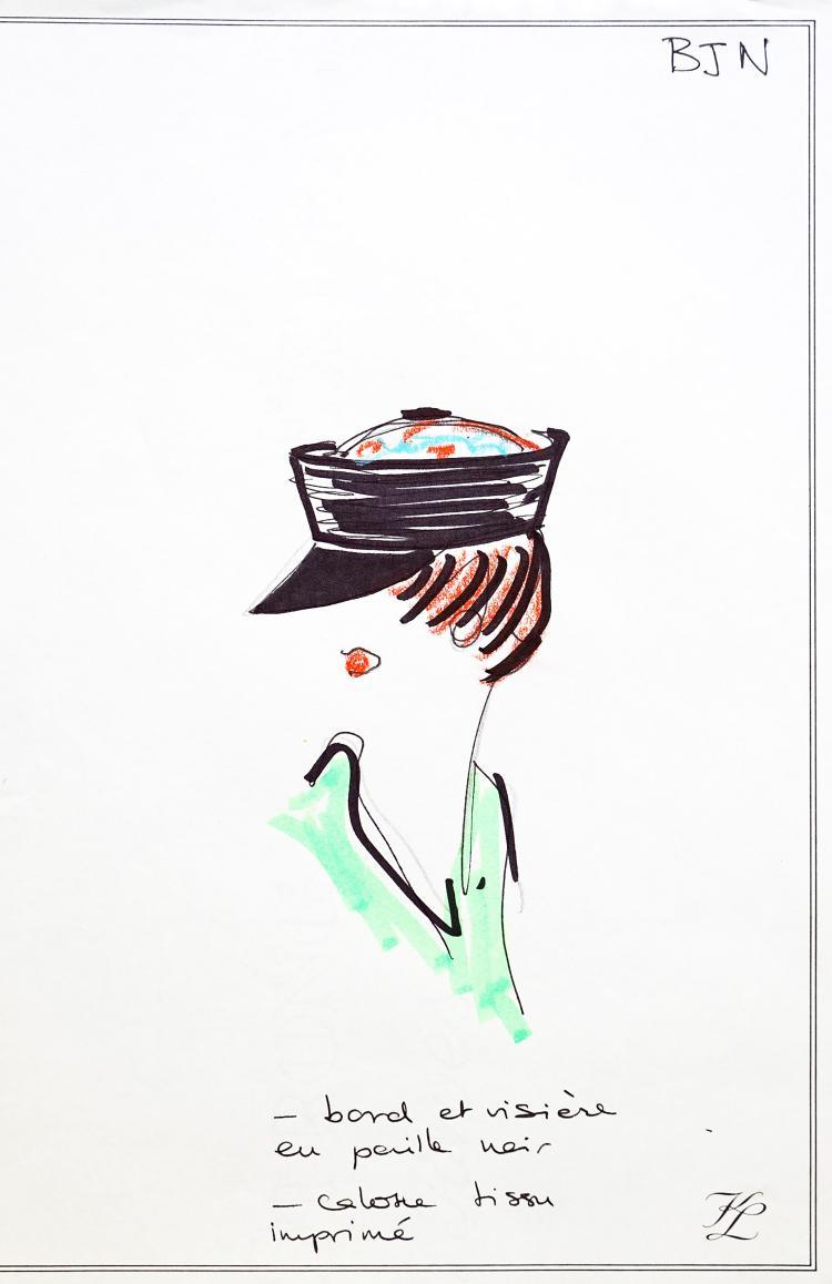 KARL LAGERFIELD  Croquis d'un chapeau visière en paille.