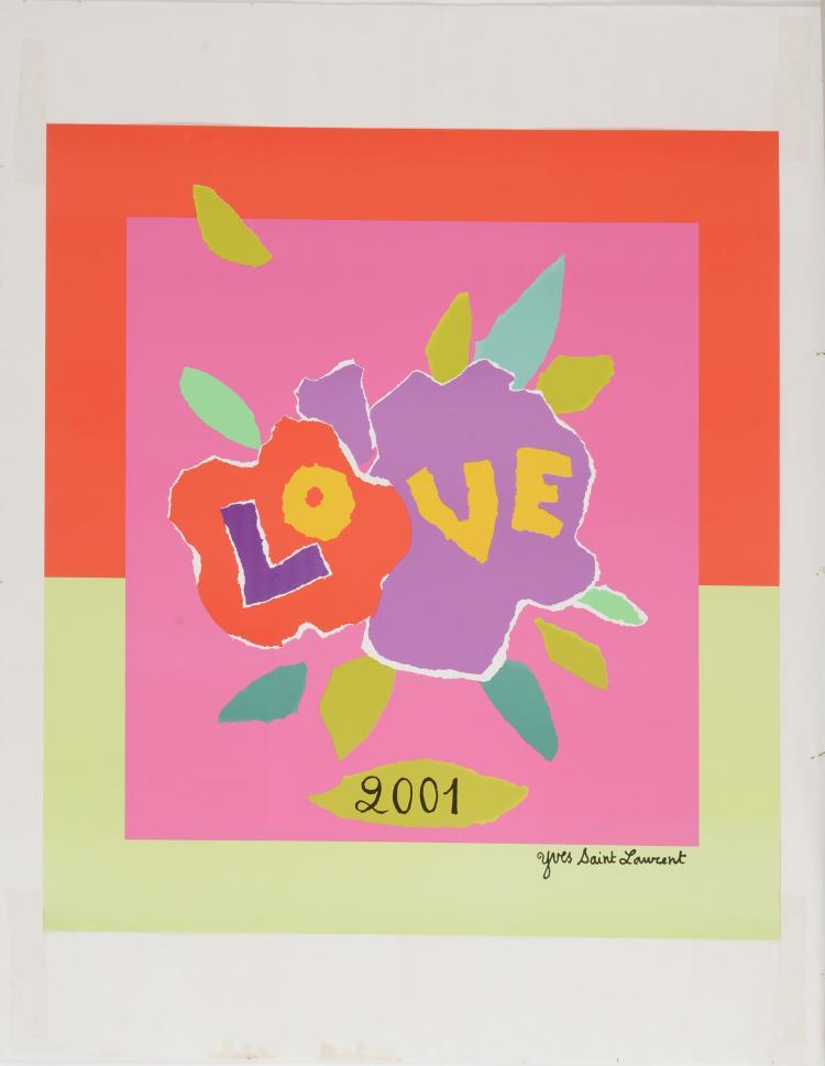 YVES SAINT LAURENT (1936-2008)Love 2001. Affiche.55 x 50 cm.Affiche collé sur un papier cartonné blanc servant de Marie-Louise. Dimensions totales : 72 x 56 cm.Provenance : Donné chaque année en main propre par Yves Saint Laurent.