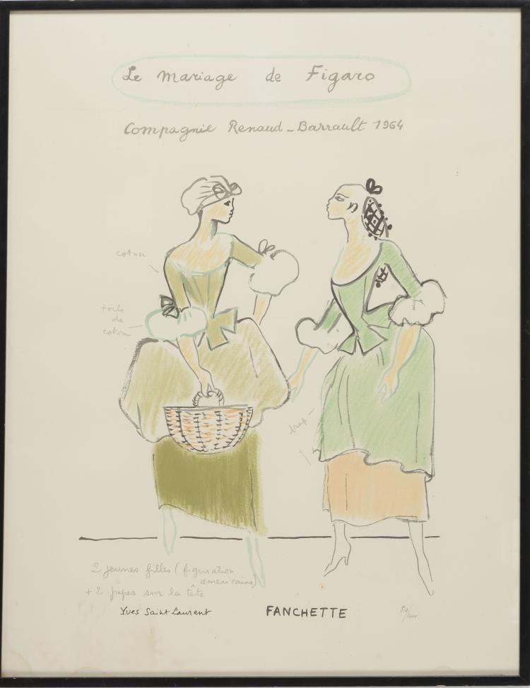 YVES SAINT LAURENT (1936-2008)Le mariage de Figaro.Lithographie numérotée 810/1000.65 x 45 cm.Provenance : Achetée en 2006 en ventes aux enchères chez SAS Cornette de St Cyr.